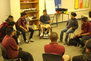 Miguel Rivera talks peer pressure and decision making with Corvallis Middle School students